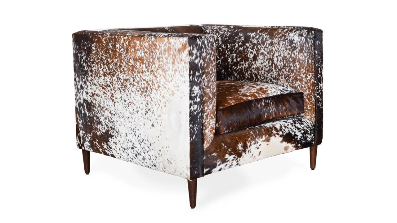Amelia Hair on Hide Chair Dark Brown and White Speckled HOH by COCOCO Home