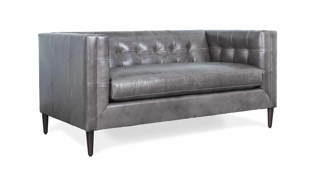 Cococo Home, Arden Leather Love seat Moore & Giles, Mont Blanc Wolf, Mid-Century Modern