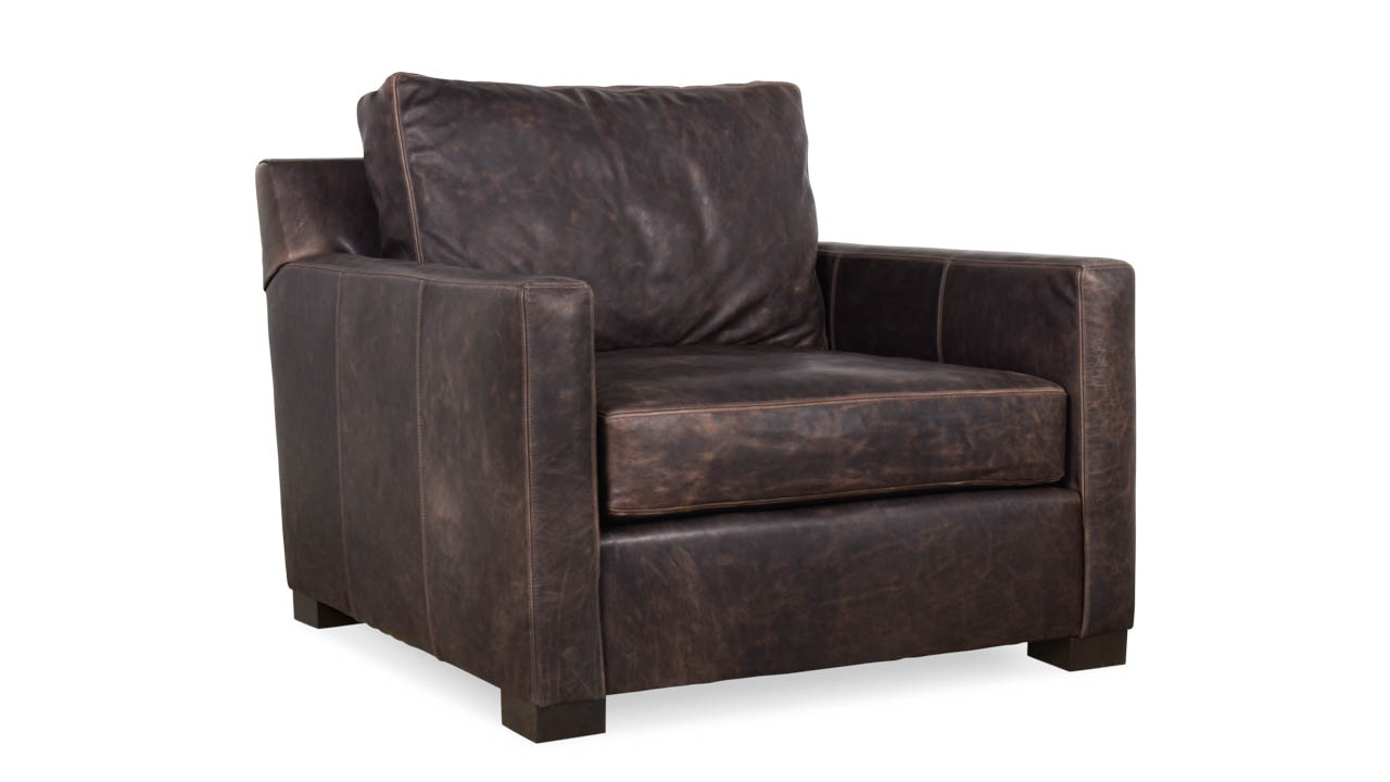 Brevard Leather Chair 38 x 42 Brentwood Anthracite Milled by COCOCO Home