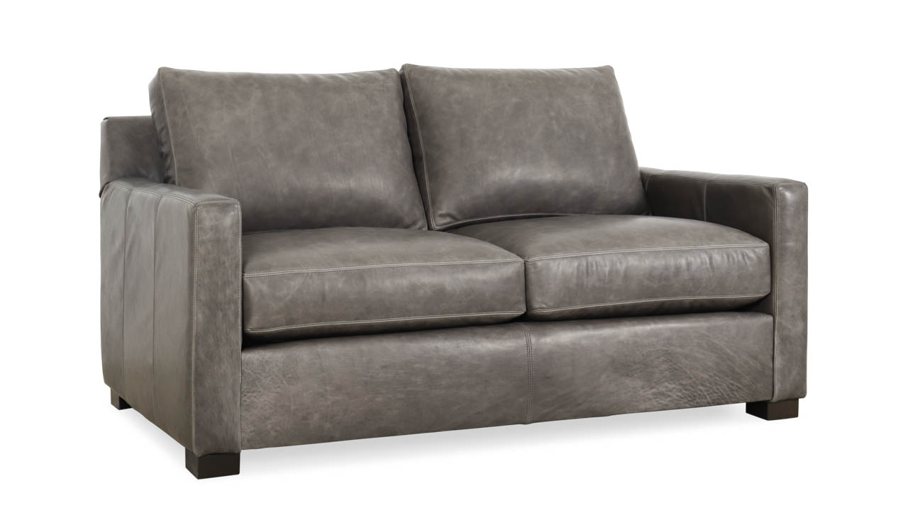 Brevard Leather Loveseat 62 x 38 Brentwood Wolf MILLED by COCOCO Home