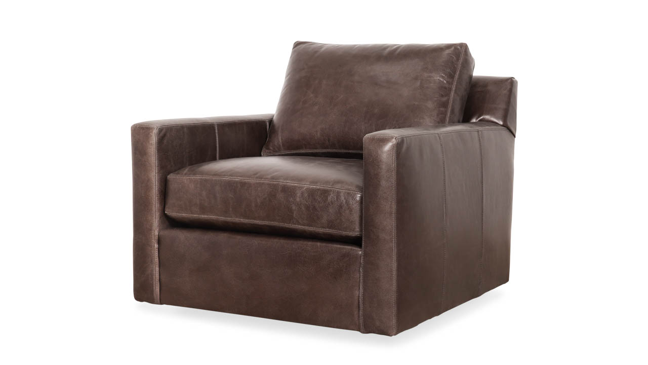 Brevard Leather Swivel Chair 35 x 42 Cambridge Pigeon by COCOCO Home