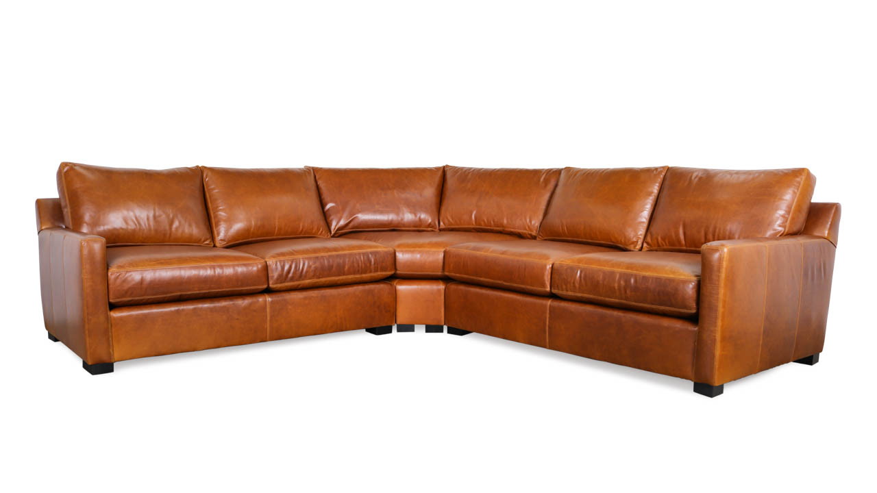 Brevard Radius Corner Leather Sectional 115 x 115 x 42 Mont Blanc Caramel by COCOCO Home