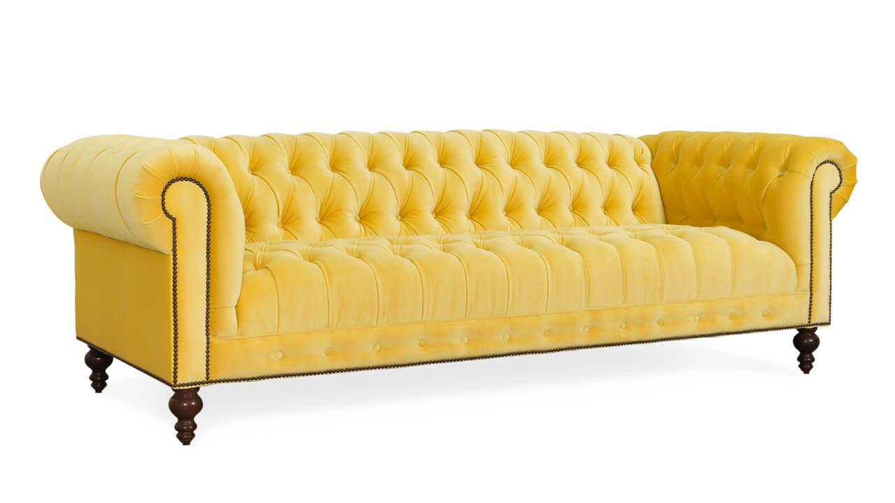 Chelsea Chesterfield Fabric Sofa 96 x 42 Como Sunnyside 2 1