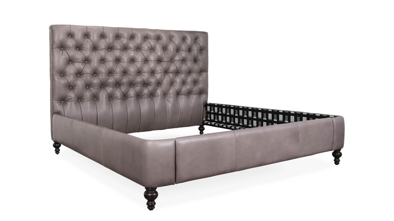 Chesterfield King Leather Bed 55H Lincoln Carbon by COCOCO Home