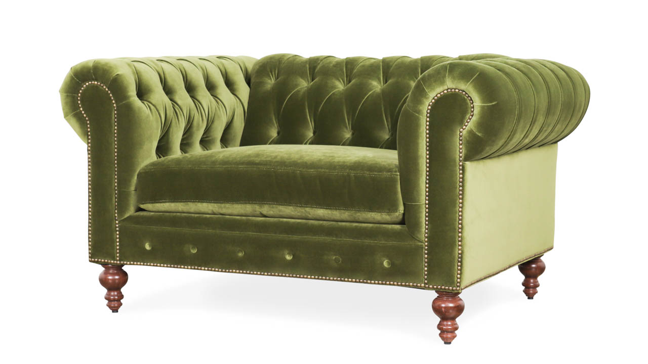 Classic Chesterfield Fabric Chair 55 x 42 Como Jade by COCOCO Home