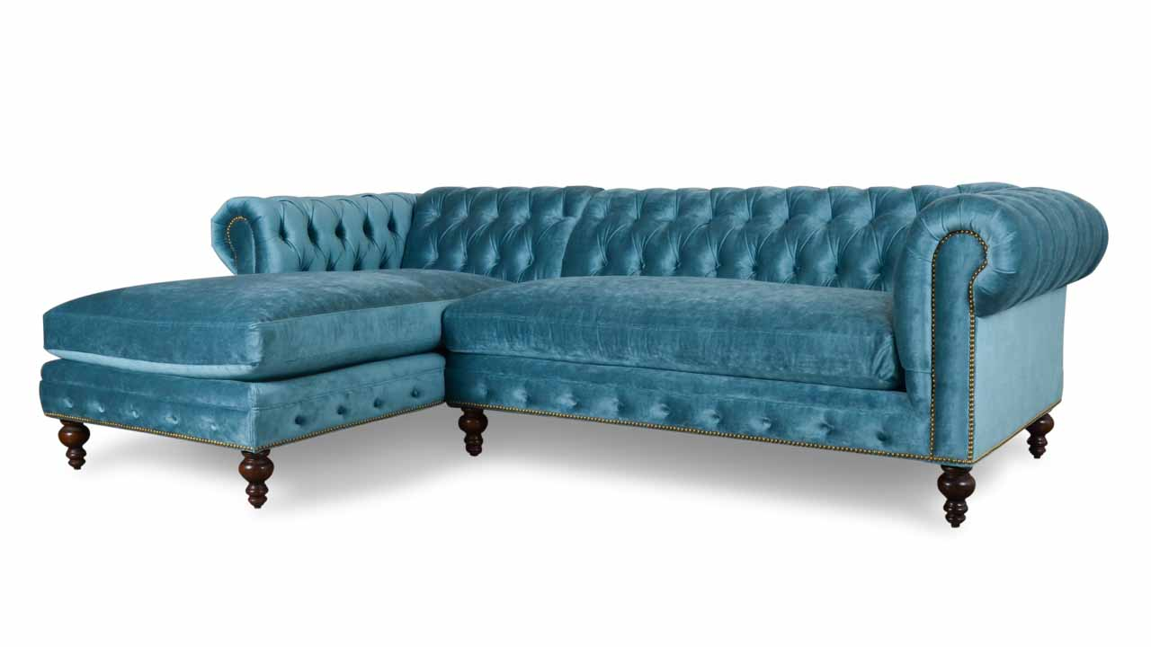 Classic Chesterfield Single Chaise Fabric Sectional 106 x 42 Milan Peacock
