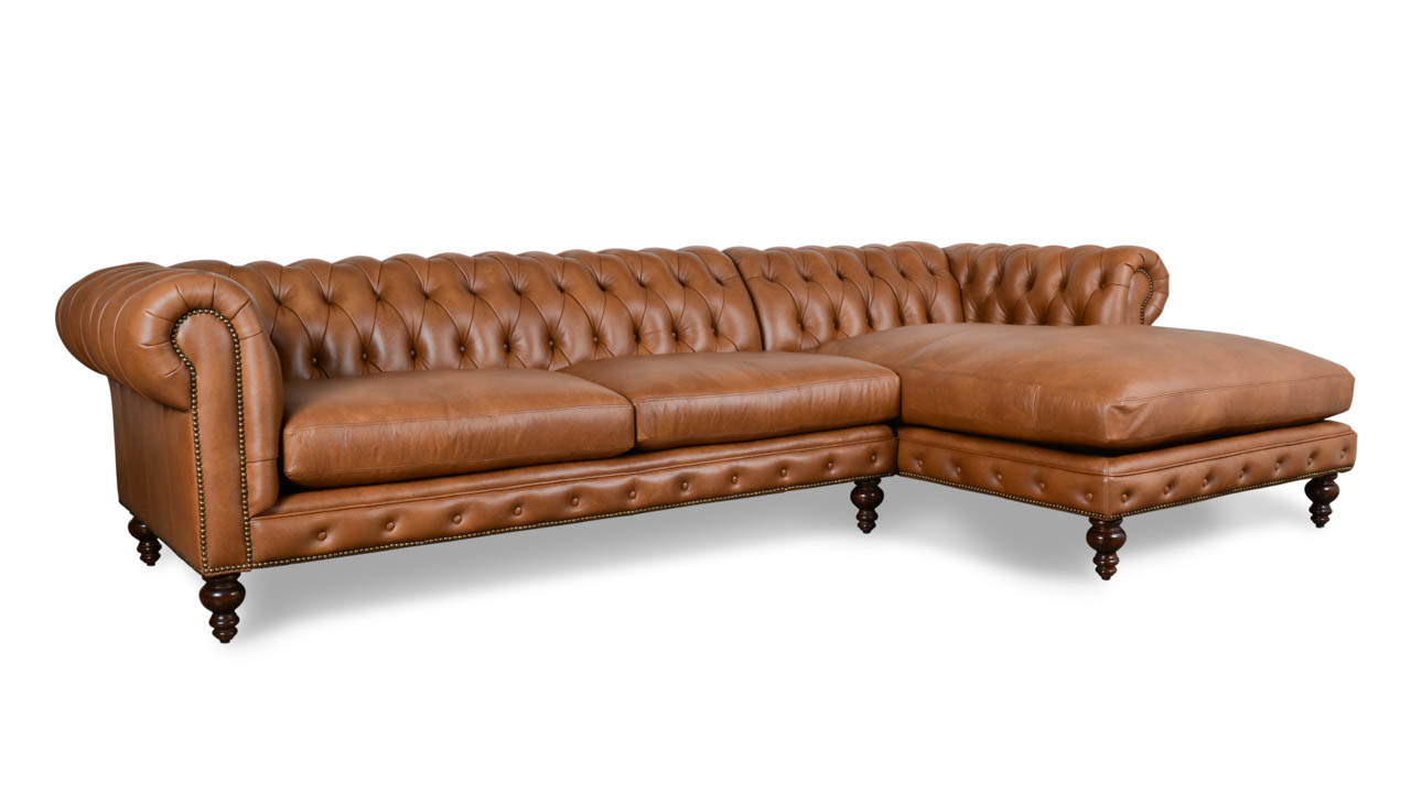 Classic Chesterfield Single Chaise Leather Sectional 121 x 42 Crest Dante Walnut