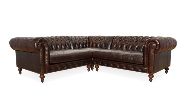 Classic Chesterfield Square Corner Leather Sectional 97 x 97 x 42 Echo Cigar 2 1 1
