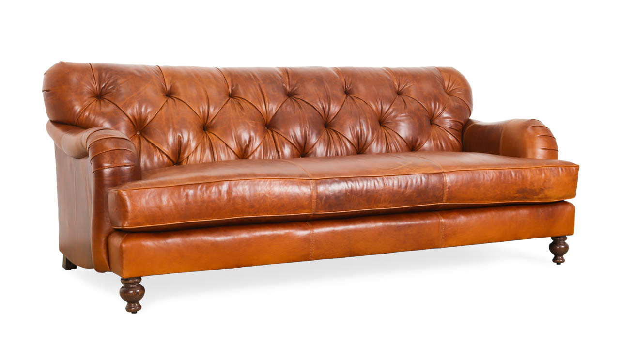 Eastover Leather Sofa 84.5 x 40 Mont Blanc Caramel by COCOCO Home