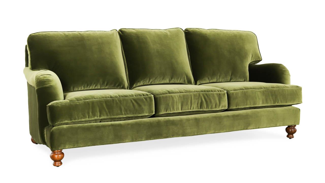 English Arm Pillow Back Fabric Sofa 88 x 40 Como Jade by COCOCO Home