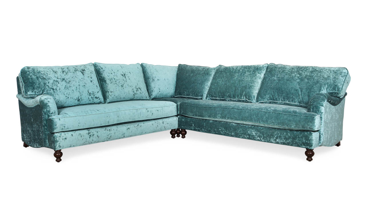 English Arm Pillow Back Square Corner Fabric Sectional 114 x 114 x 42 Milan Peacock by COCOCO Home
