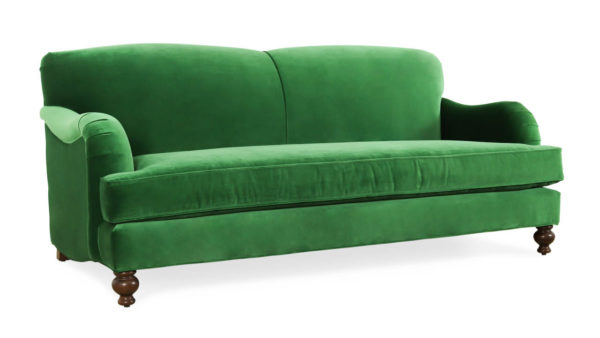 English Arm Tight Back Fabric Loveseat 80 x 40 Como Emerald by COCOCO Home