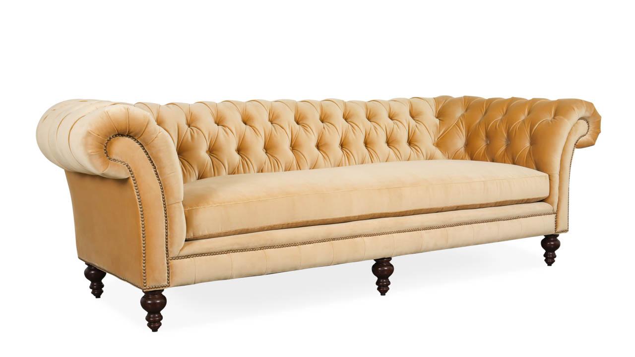 English Chesterfield Fabric Sofa 99 x 40 Como Tan by COCOCO Home