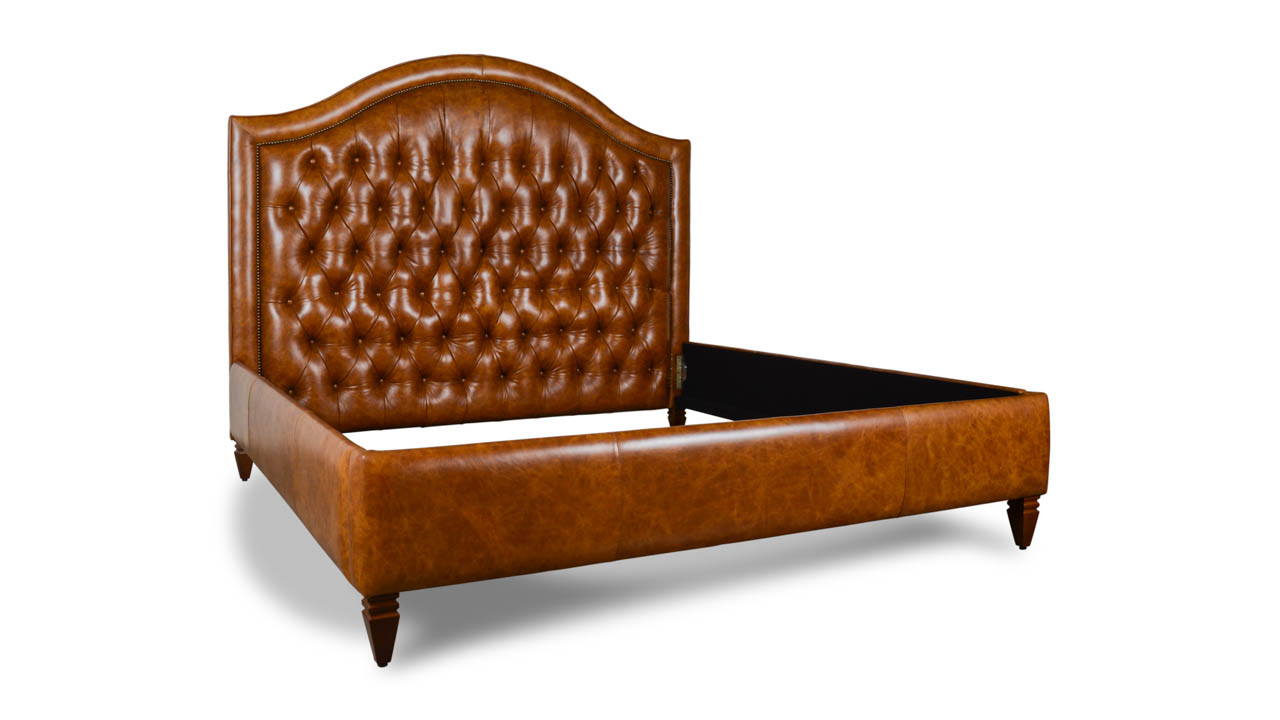 Kinston Leather King Bed Crest Stella Whiskey