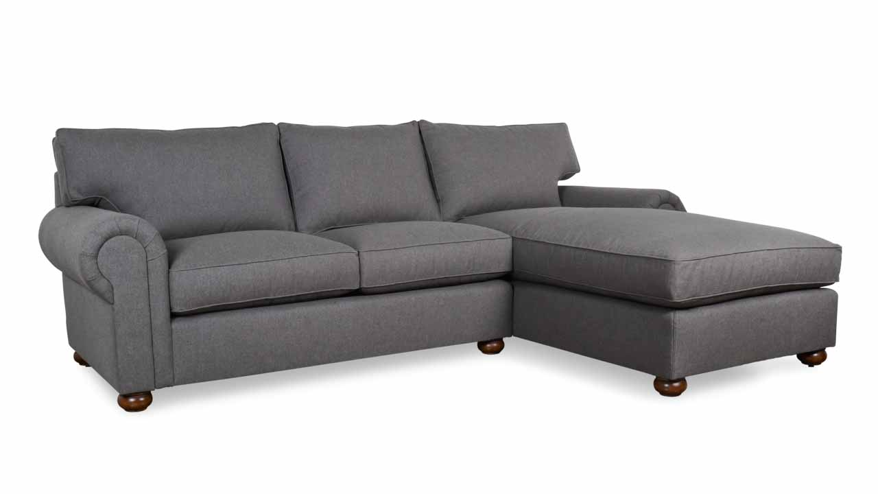 Lexington Single Chaise Fabric Sectional 103 x 40 x 72 Sunbrella Blend Coal