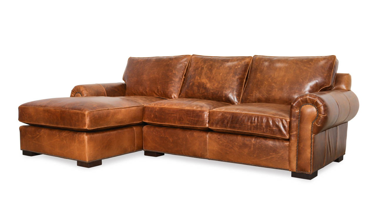 Lexington Single Chaise Leather Sectional 103 x 40 x 34 Bristol Sahara by COCOCO Home