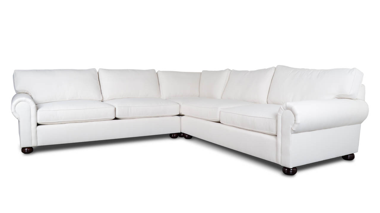 Lexington Square Corner Fabric Sectional in White