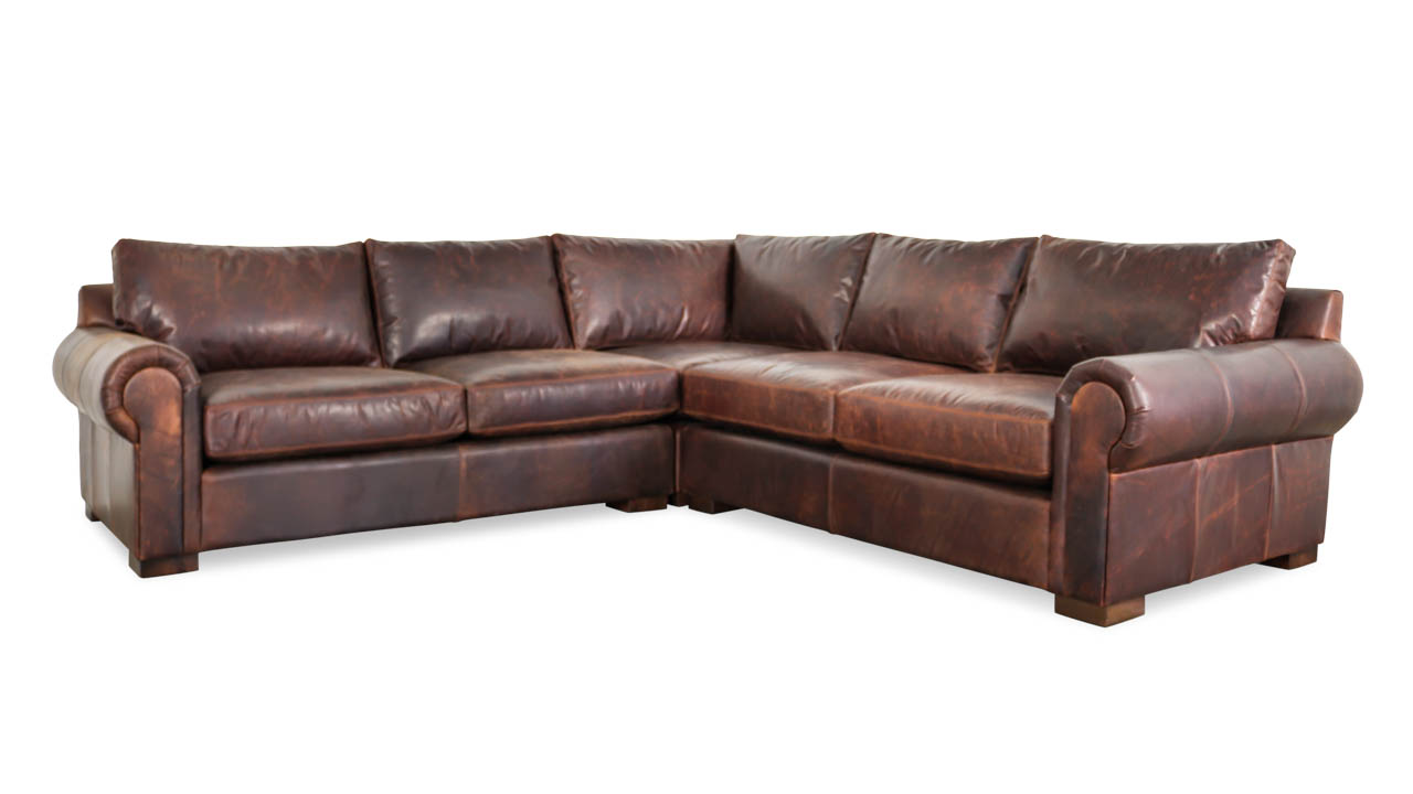 Lexington Square Corner Leather Sectional 112.5 x 112.5 x 44 Telluride Brown by COCOCO Home