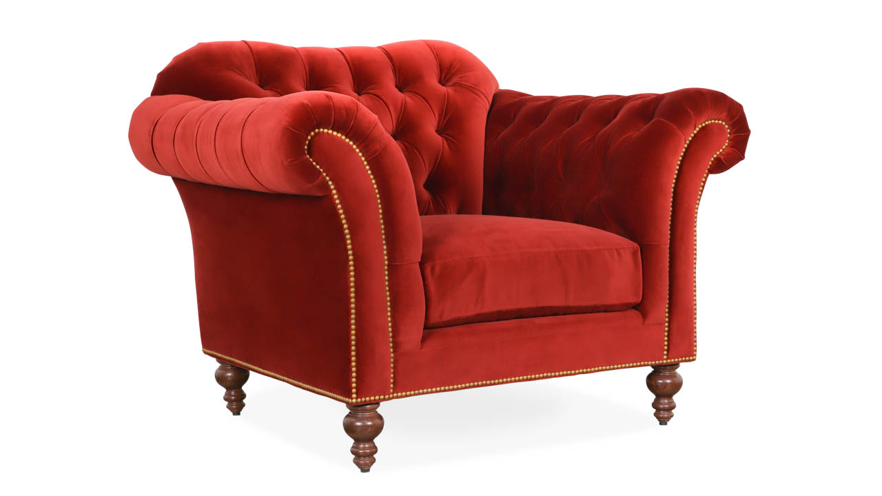 Lillington Chesterfield Fabric Chair 50 x 40 Cannes Cayenne by COCOCO Home