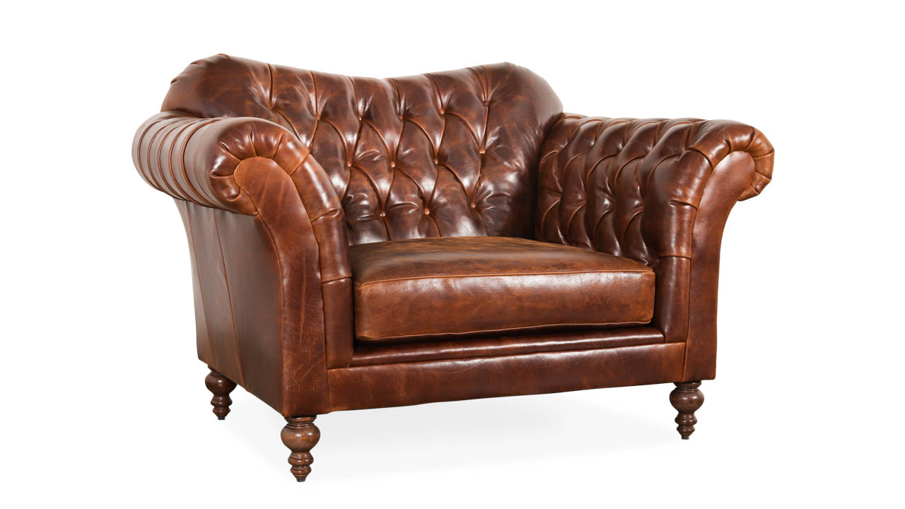 Lillington Chesterfield Leather Chair 58 x 40 Cambridge Dark Rum by COCOCO Home