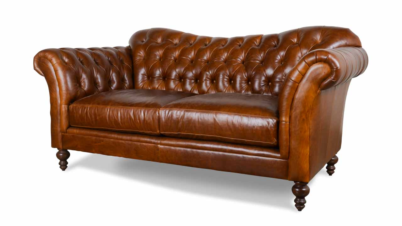 Lillington Chesterfield Leather Loveseat 80 Mont Blanc Caramel