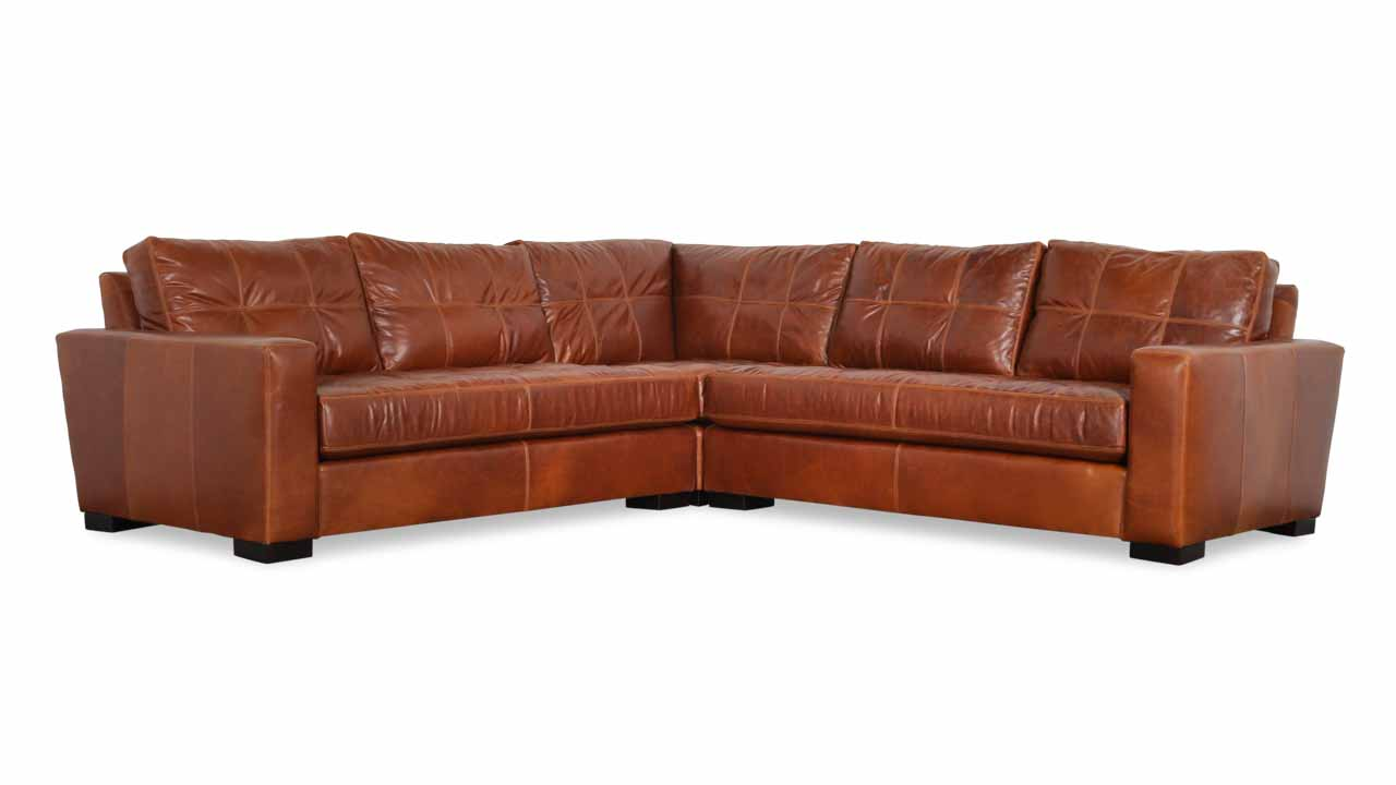 Modern Monroe Square Corner Leather Sectional 110 x 110 Mont Blanc Caramel