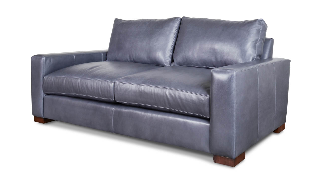 Monroe Leather Loveseat 81 x 42 Brighton Shadow