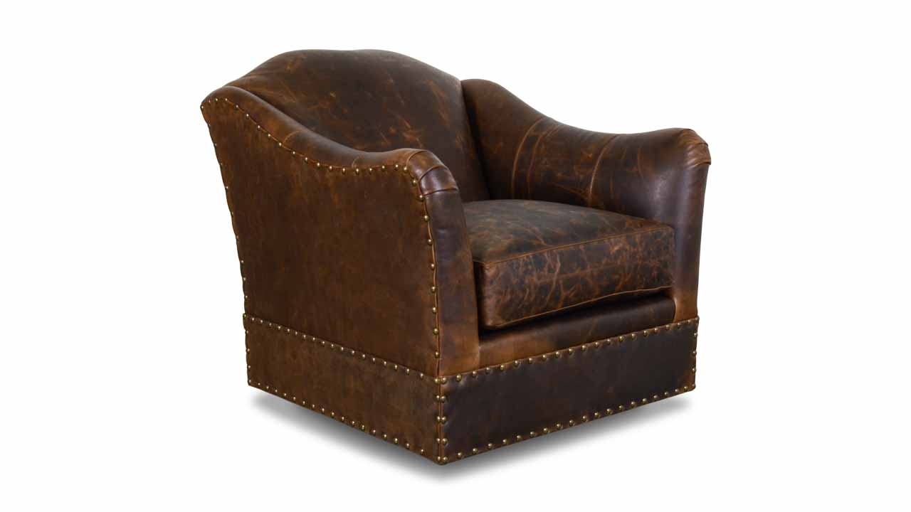 Raleigh Leather Swivel Chair Berkshire Bourbon
