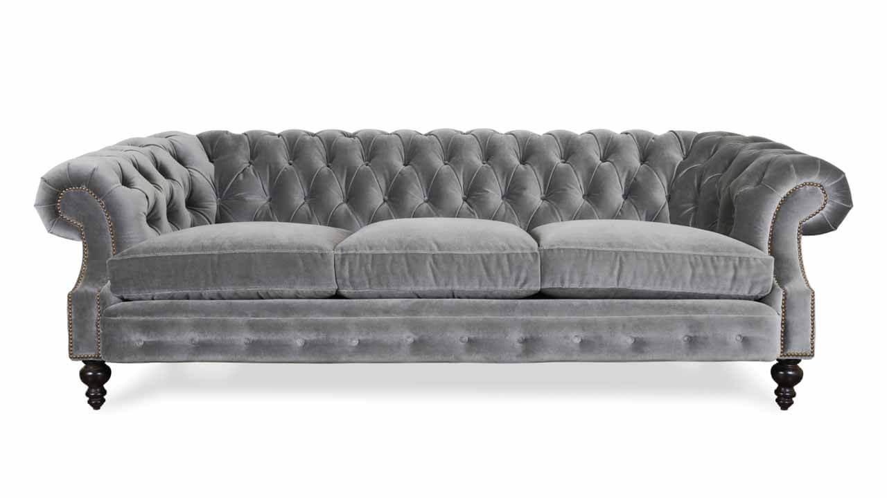 Biltmore Chesterfield Fabric Sofa 96 Como Grey Cloud 1