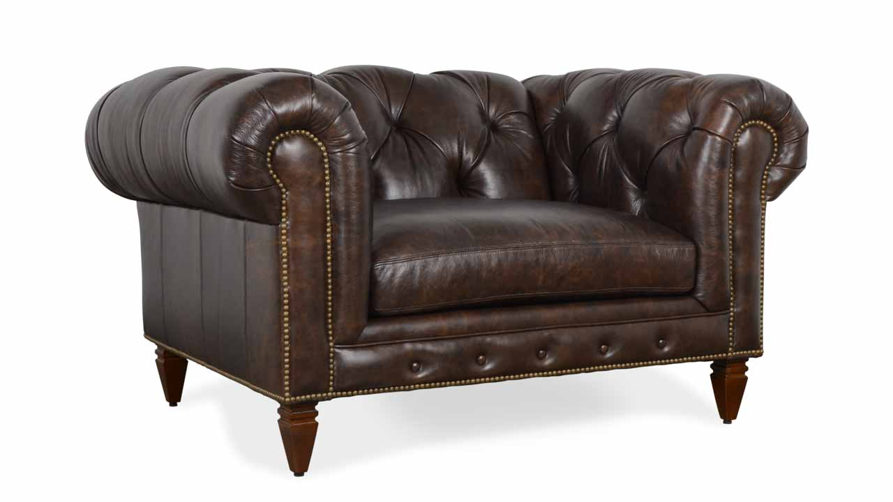 Soho Chesterfield Leather Chair 55 x 42 Bronx Liberty by COCOCO Home