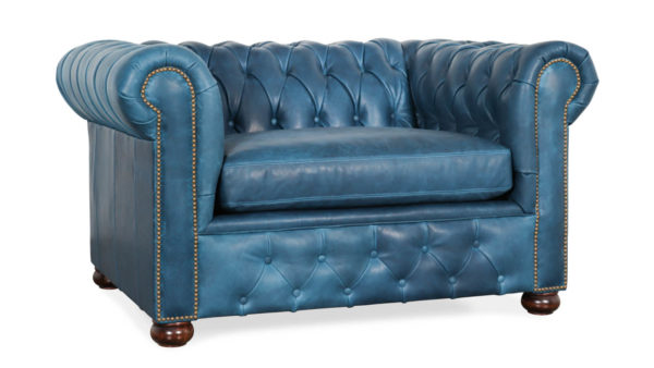 Traditional Chesterfield Leather Chair 55 x 42 Brentwood Navy by COCOCO Home