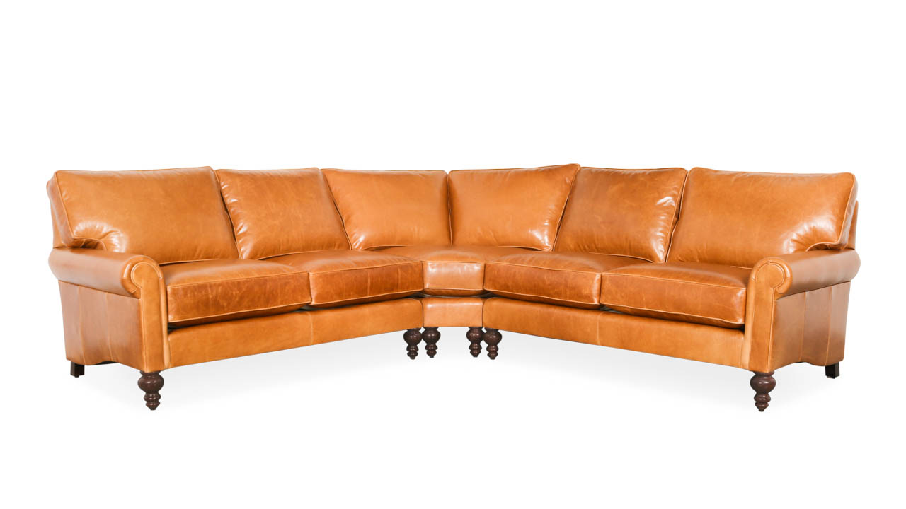 Dilworth Radius Corner Leather Sectional 106 x 106 x 38 Mont Blanc Sycamore by COCOCO Home