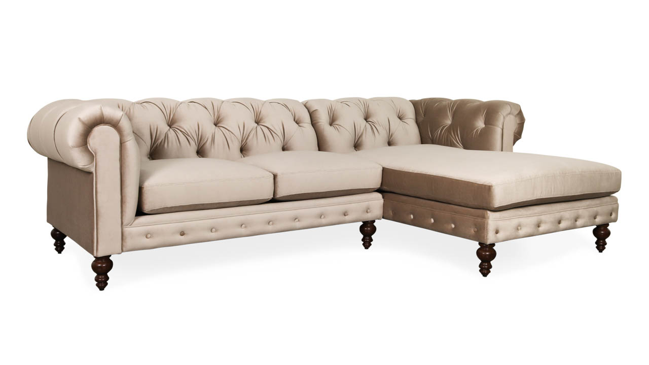 Soho Chesterfield Single Chaise Fabric Sectional 110 x 42 x 72 Bach Dove by COCOCO Home