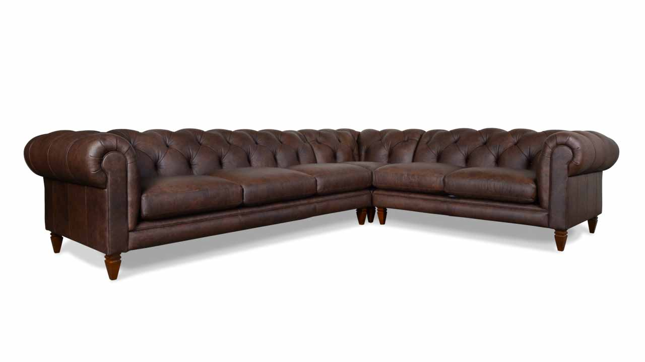 Soho Chesterfield Square L Leather Sectional 136 x 109 x 42 Saloon Texas