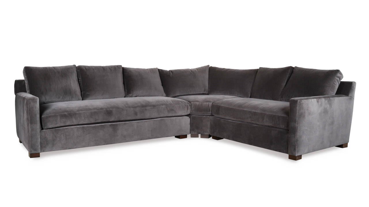 Brevard Radius L Fabric Sectional 127 x 103 Cannes Dark Grey by COCOCO Home