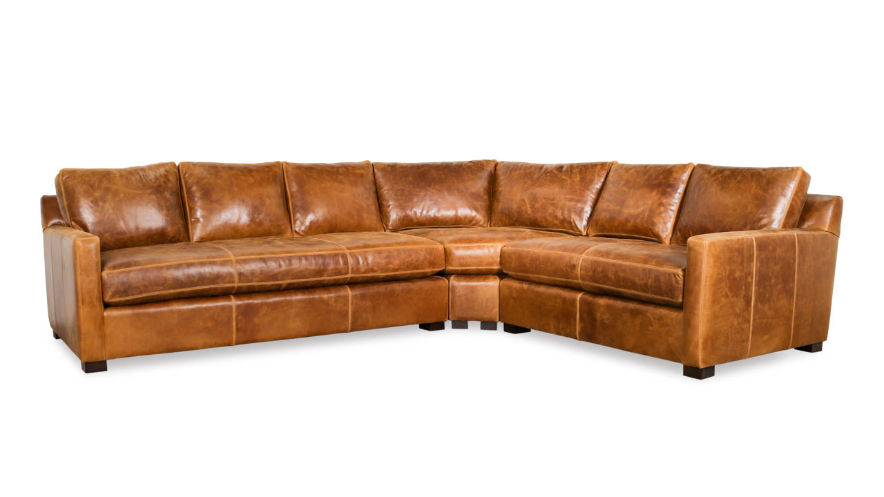 Brevard Radius L Leather Sectional 127 x 103 x 42 Cambridge Sycamore by COCOCO Home