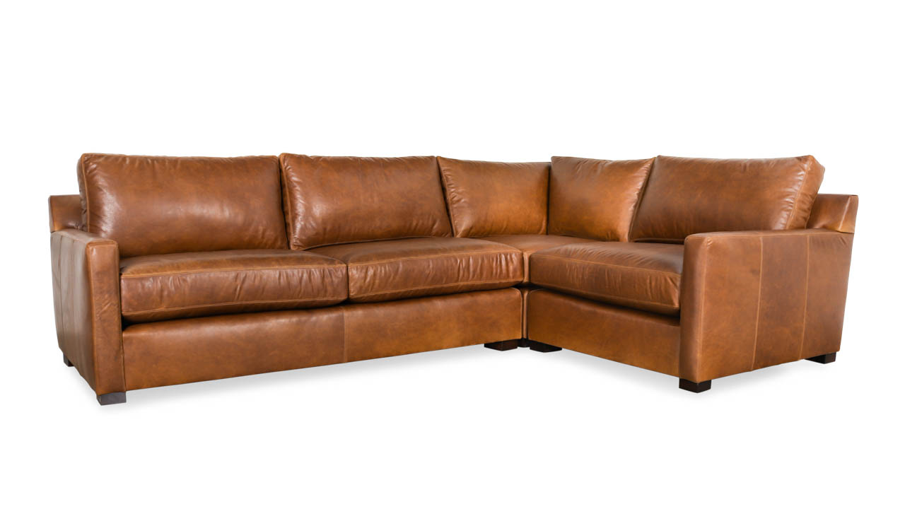 Brevard Square L Leather Sectional 119 x 95 x 42 Berkshire Tan by COCOCO Home