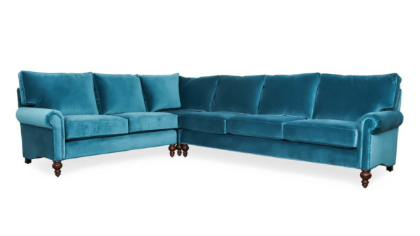 Dilworth Square L Fabric Sectional 99 x 126 x 39 Como Cyan by COCOCO Home