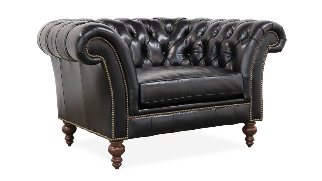 Traditional Leather Chair, Chesterfield Chair, Cococo Home, Moore and Giles, Mont Blanc Midnight