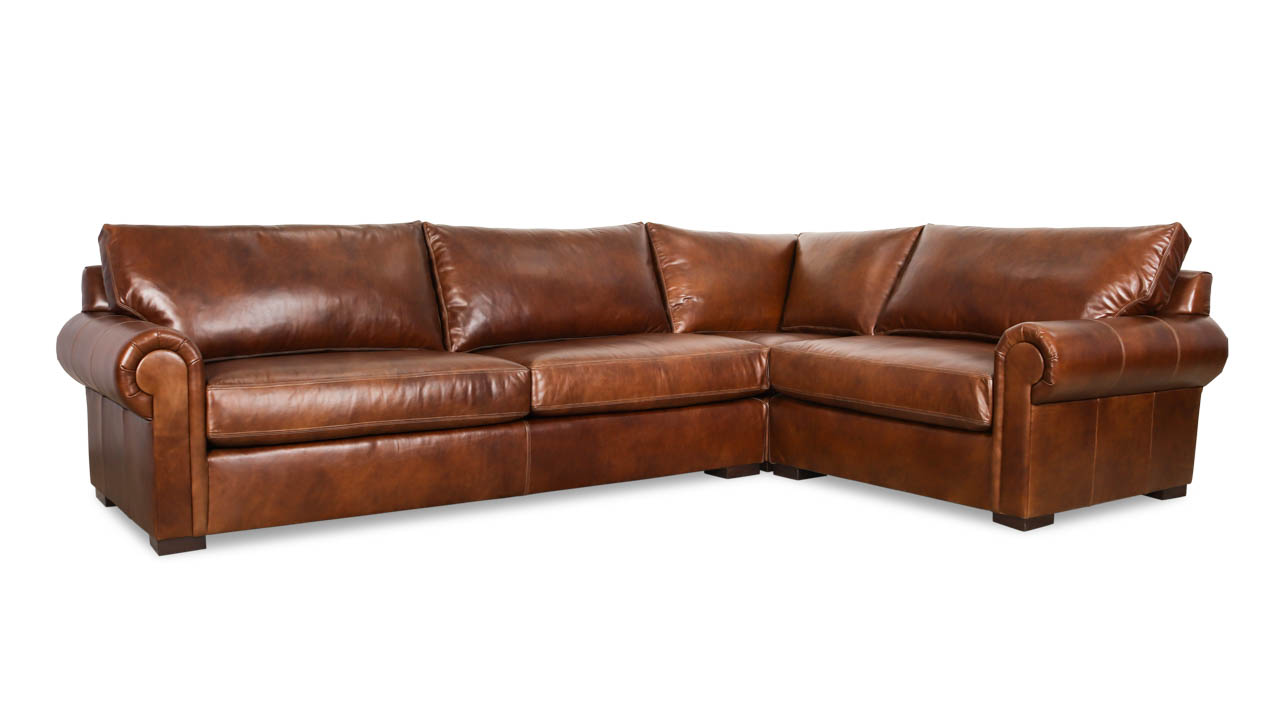 Lexington Square L Leather Sectional 125 x 86 x 38 Belmont Tobacco by COCOCO Home