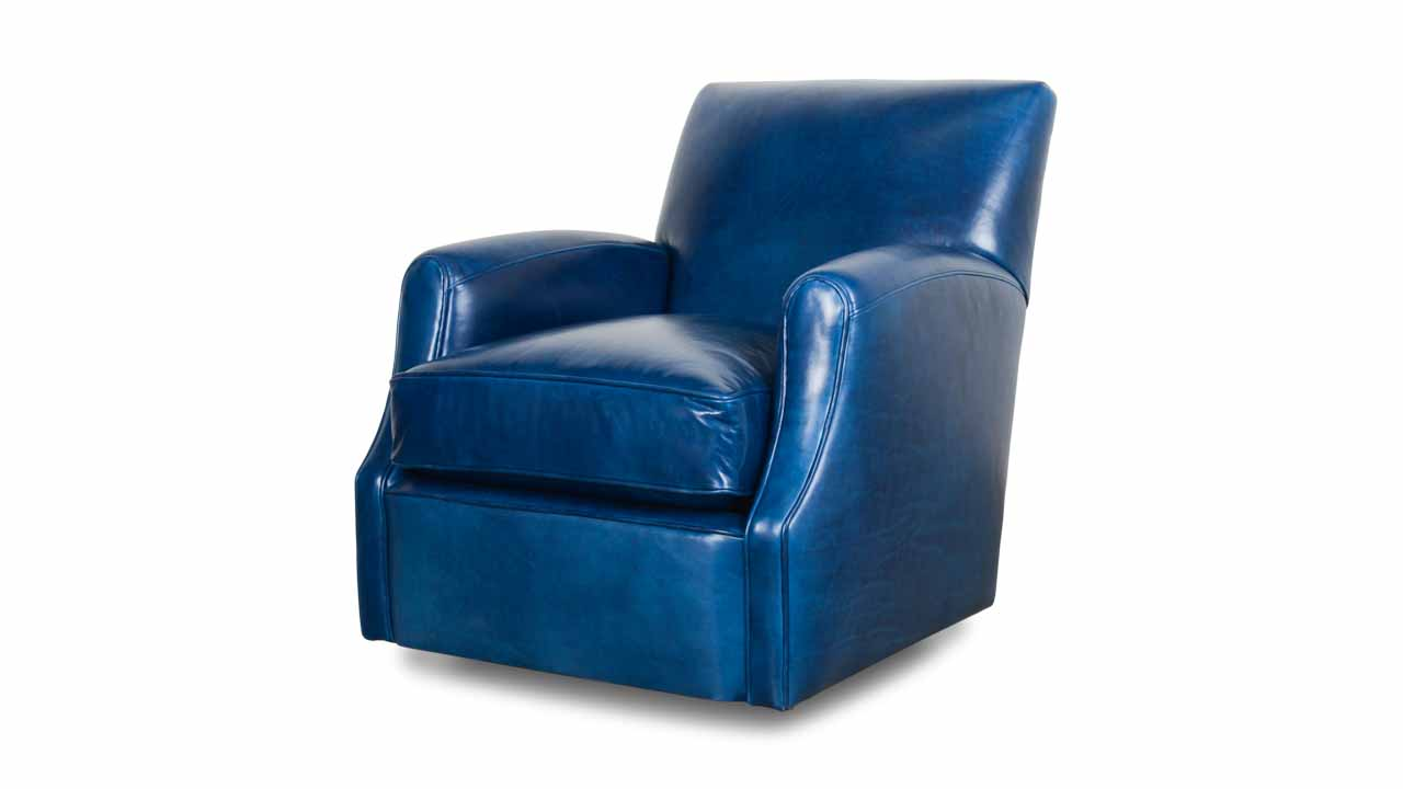 Metro Leather Swivel Chair Echo Blue Marlin
