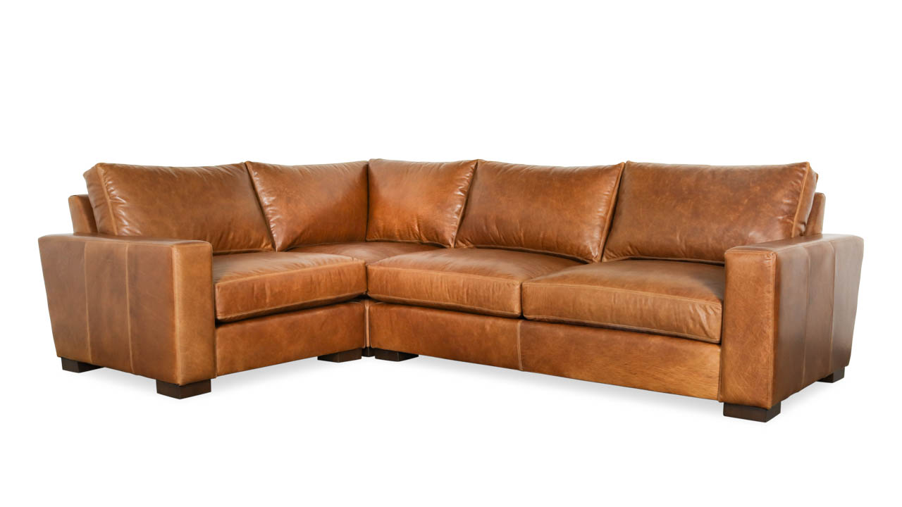 Monroe Square L Leather Sectional 83 x 116 x 42 Berkshire Chestnut 1