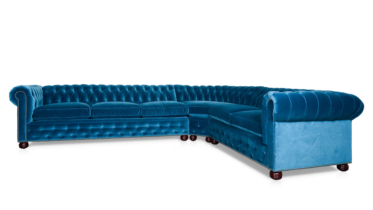 Traditional Chesterfield Fabric L Sectional Como Cyan