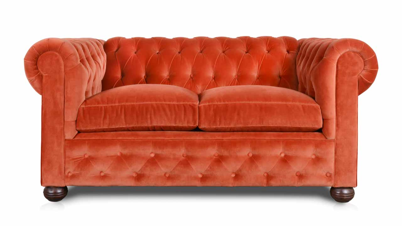 Traditional Chesterfield Fabric Loveseat 69 Como Shrimp