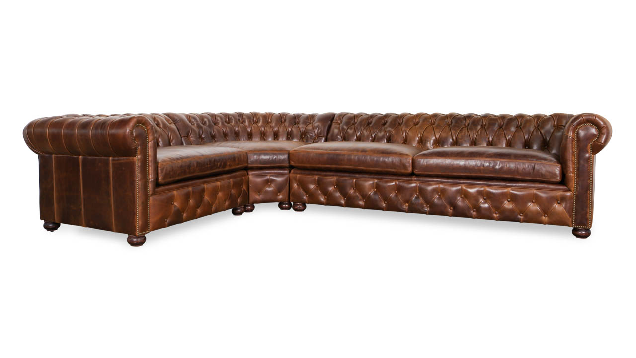 Traditional Chesterfield Radius L Leather Sectional 138 x 100 x 42 Cambridge Dark Rum by COCOCO Home