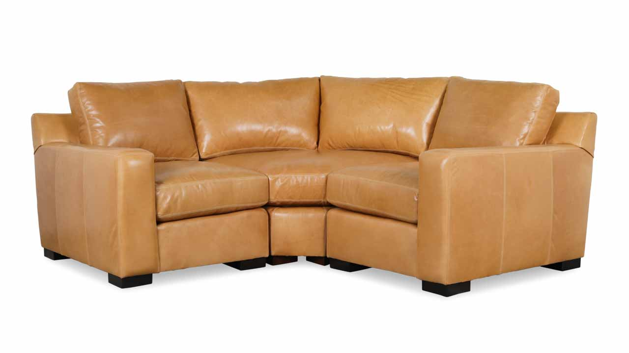 Durham Radius Corner Leather Sectional 82 x 82 x 42 Echo Fawn