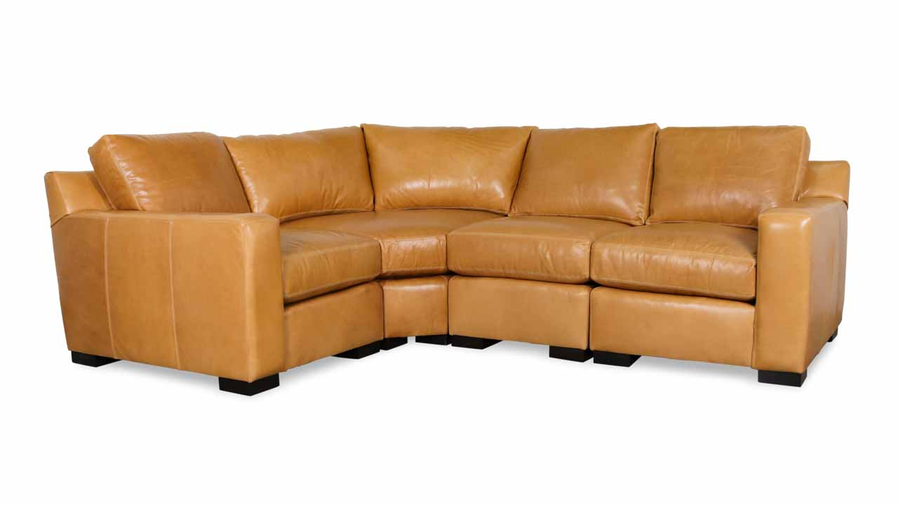 Cococo Home, Leather Sectional, Contemporary leather sectional,Durham Radius L Leather Sectional Echo Fawn