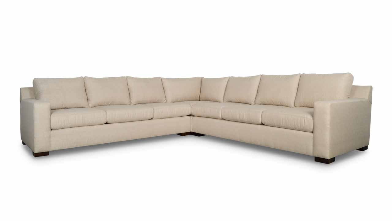 Cococo Home, Contemporary Sectional,Durham Square Corner Fabric Sectional 128 x 128 x 42 Chartres Malt