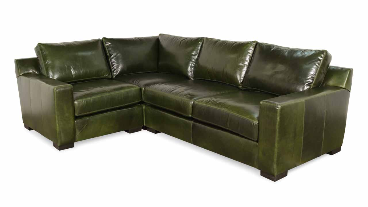 Durham Square L Leather Sectional 80 x 110 x 42 Mont Blanc Winter Pine