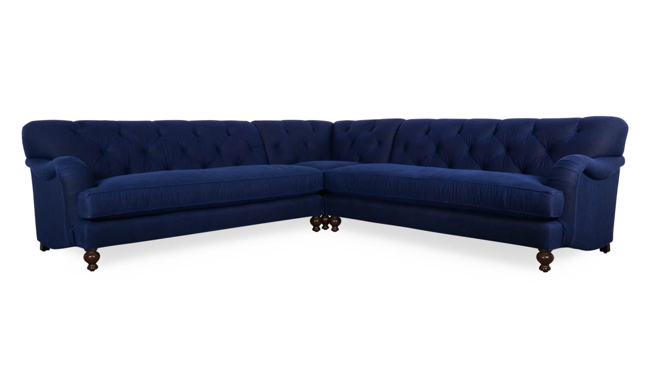 Eastover Square Corner Fabric Sectional 114 x 114 x 42 Waxed Canvas Navy by COCOCO Home